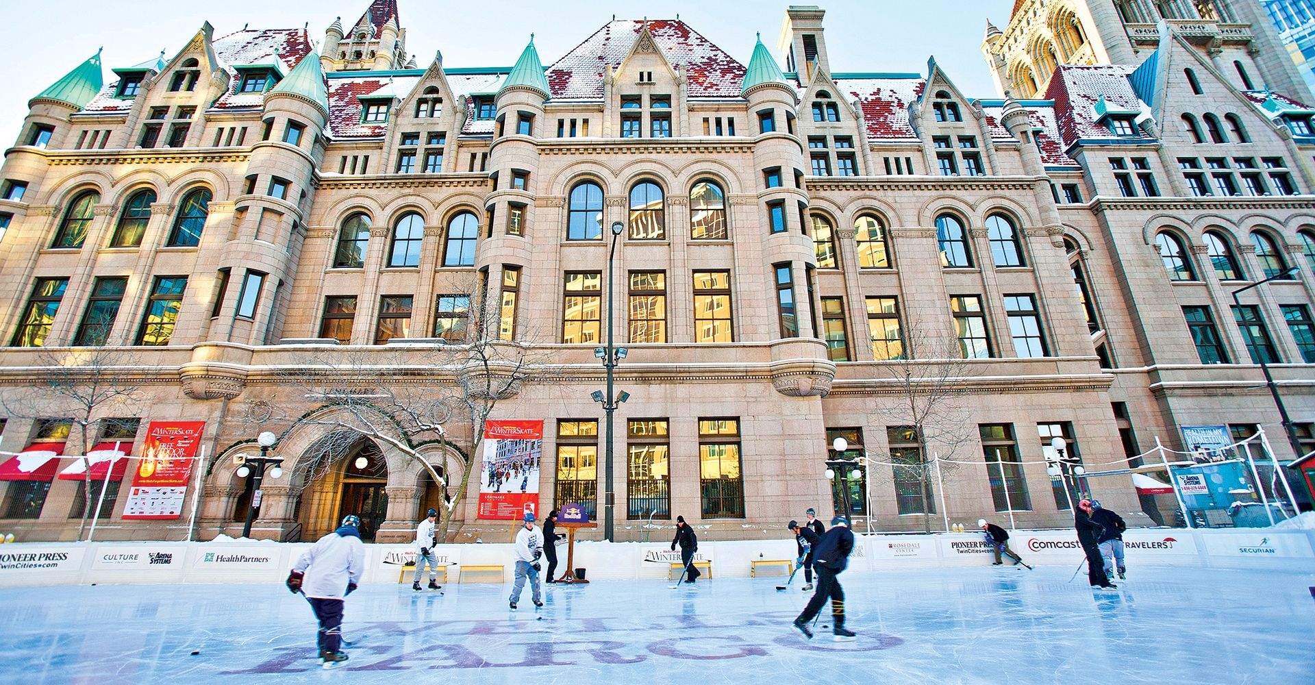 Wells Fargo ice rink in front the Landmark Center
