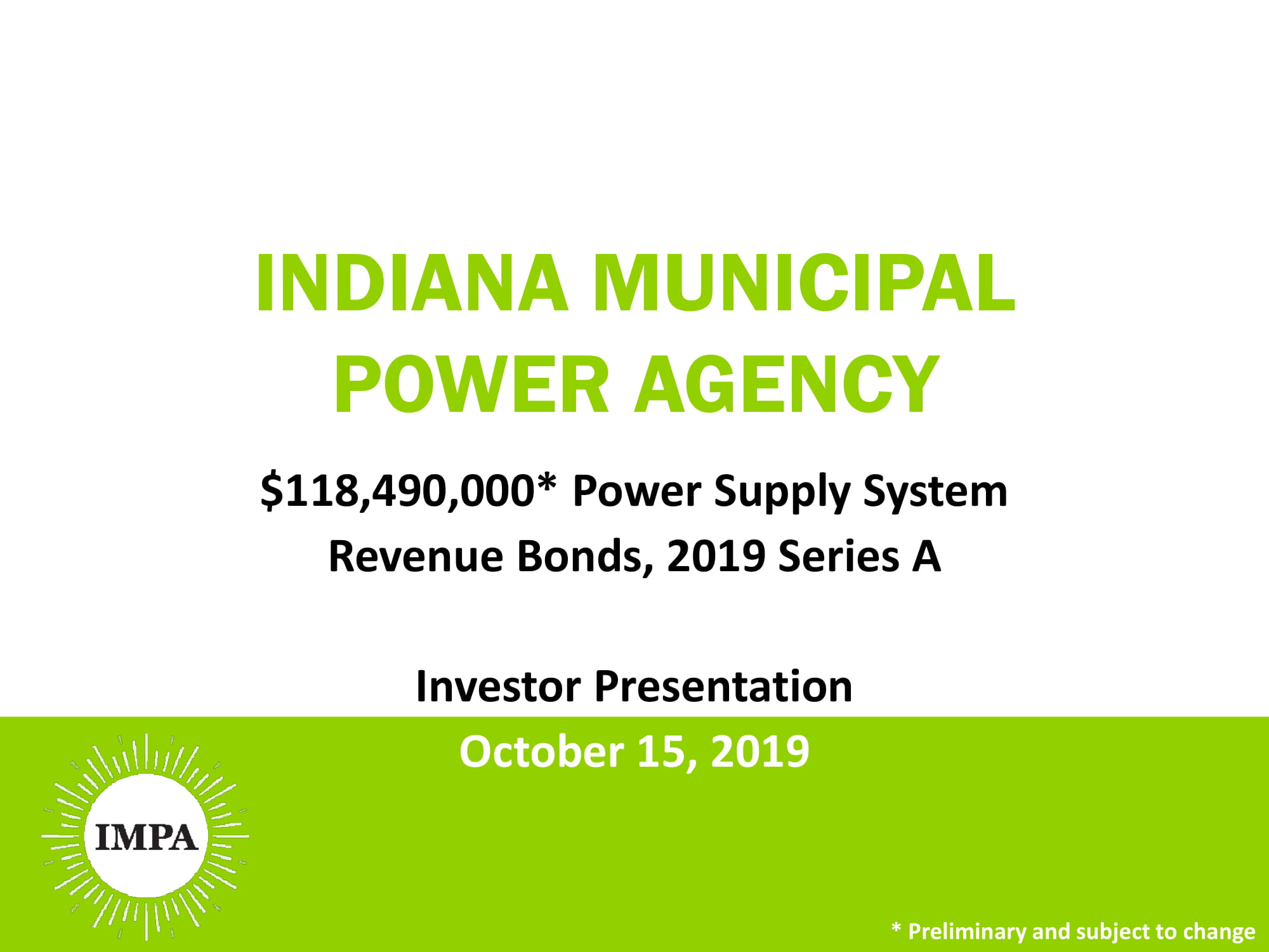 Indiana Municipal Power Agency 2019 Series A