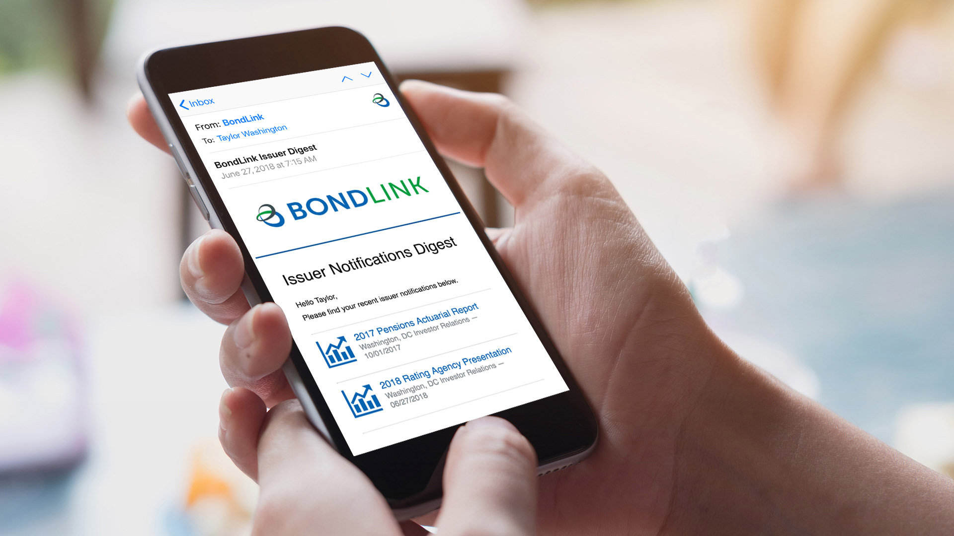 BondLink email on a phone