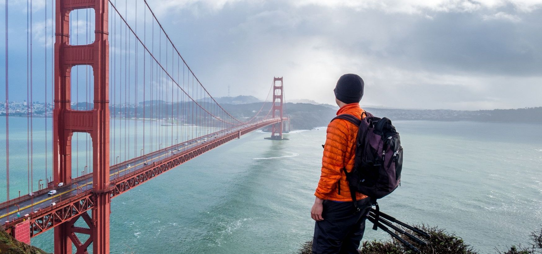 Hiker at Golden Gate Bridge
